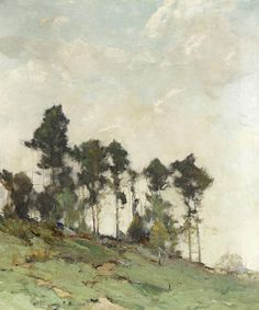 """Chauncey Foster Ryder - American - Landscape Artist, """"Hillside with Trees"""" (trees, sky, hills, grass) Landscape Art, Landscape Paintings, Landscape Design, Paintings I Love, Art Paintings, Arte Floral, Front Yard Landscaping, Dollhouse Landscaping, Landscaping Edging"""