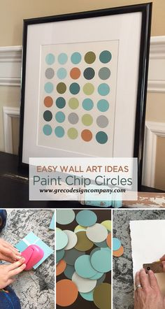 Here we are at Chapter Six in the Easy Wall Art Ideas Series: Paint Chip Circle Art. Make a trip to your local paint store or home supply store and gather up some paint chips in your favorite color… Cheap Wall Art, Simple Wall Art, Diy Wall Art, Wall Decor, Paint Sample Art, Paint Swatch Art, Paint Swatches, Paint Samples, Paint Chip Wall