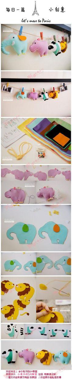 韩国手作者用不同颜色的不织布做出了【造型别致的小动物】只要跟着步骤图动手做,你也一定可以做出这四只可爱的小萌物。