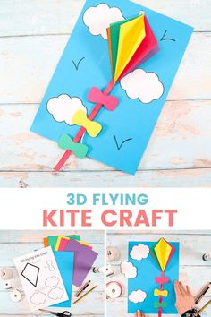 Let's make a 3D Flying Kite craft with the kids this Summer! A fun and easy to make 3D kite craft that uses a pulley system to make the kite fly high up into the sky! Kites For Kids, Summer Crafts For Kids, Paper Crafts For Kids, Crafts For Kids To Make, Kite Template, Kites Craft, Easy Arts And Crafts, Diy Crafts, Kite Flying