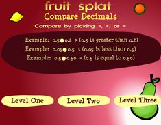 Fruit Shoot: Comparing decimals and determining which one is smaller or bigger. Three different levels of play. Teaching Decimals, Comparing Decimals, Teaching Math, Fractions, Teaching Ideas, Creative Teaching, Maths, Decimal Games, Fourth Grade Math