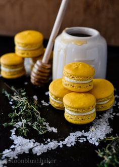 Lemon macarons with salted honey and thyme buttercream. |