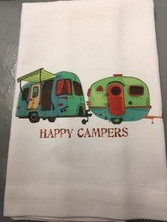 Vintage Camper Huck Towel Happy Campers 100% Cotton Dish Towel