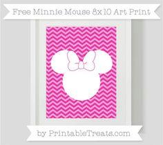 Free Hot Pink Chevron Minnie Mouse 8x10 Art Print