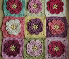 "from the book ""200 crochet blocks"" by Jan Eaton (Yup, my favorite crochet book ever! This is the Water Lily pattern... love the colors used.)"
