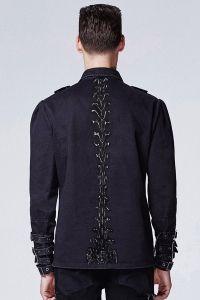 Gothic Hemd mit Schnallen & Wirbelsäulen Print