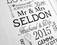 Large Lucky Key Wedding Print , Personalised Word Art . Gift Keepsake Marriage Mr Mrs Love Anniversary