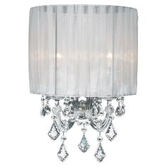 Chrome-trimmed sconce with crystal accents and a sheer pleated shade. Product: Wall sconce Construction Material: