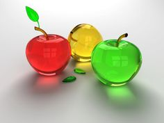 Glass Apple Paperweights
