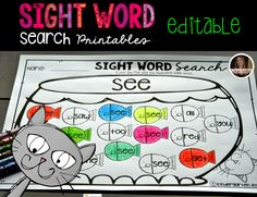 Sight word search Printables {Editable} are fun activities to use throughout the year for morning work, homework, literacy centers or students that finish early.   This is a great introduction activity, review and/or intervention.
