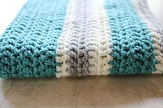Chunky Striped Modern Crochet Baby Blanket - Cream - Aqua - Light Gray