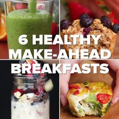 6 Healthy Make-Ahead Breakfasts Continue to read: Make-Ahead Breakfast Meal Prep Bowls are quick, easy and healthy recipes to make… Transform Your Breakfast with 15 Delicious Smoothie Bowl Recipes Healthy Make Ahead Breakfast, Healthy Meal Prep, Healthy Drinks, Healthy Snacks, Healthy Brunch, Brunch Food, Breakfast Fruit, Healthy Breakfasts, Brunch Ideas