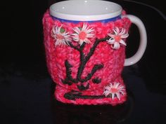 Mothers Day Mug  Pink Cosy and Coaster Set with Flowers and Shimmer. £5.00