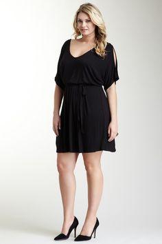 Date Night:  Loveappella Open Shoulder Little Black Dress - Plus Size