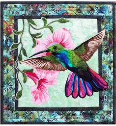 """This fusible art pattern depicts a brightly colored hummingbird searching fornectar. The patternincludesinstructions, pattern pages and piecing guide. Finished size: 19 1/2"""" x 21"""""""