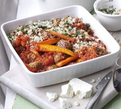 Saucy meatball & carrot bake with crispy feta crumbs from N although meatballs were overcooked and a tad too dry Stew Chicken Recipe, Meatball Recipes, Meatball Bake, Mince Recipes, Bbc Good Food Recipes, Convenience Food, Food Hacks, Feta, A Food