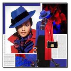 """Red,Black and Blue"" by littlefeather1 ❤ liked on Polyvore featuring Oris, Maison Michel, Moschino, Dorothy Perkins, River Island, MSGM, Yves Saint Laurent and Gucci"