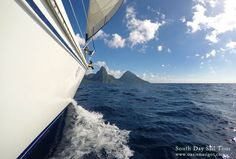 Pitons ahead! --------------------------- Next time you're in St. Lucia, be sure to book yourself a spot on one of our popular South Day Sail Tours! #stlucia #pitons
