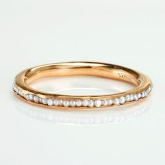 Pearl wedding band to go with the pearl and diamond engagement I will have, yes please! Jewelry Box, Jewelry Rings, Jewelry Accessories, Jewelry Design, Gold Jewelry, Jewelry Center, Pearl Jewelry, Bridal Accessories, Jewelry Ideas