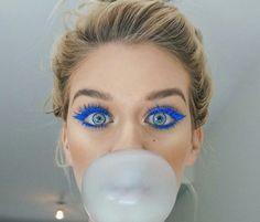 Blue Eyeliner and Mascara