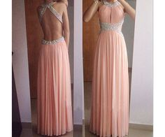 Blush Pink Backless Prom Dresses,Open Back Prom Gowns,Pink Prom Dresses 2016, Party Dresses 2016,Long Prom Gown,Open Backs Prom Dress,Long Evening Gowns