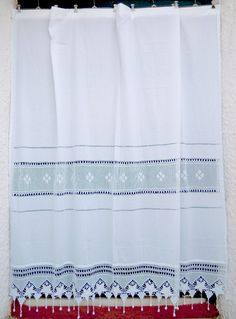 White Cotton Curtain With Cutwork Design