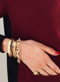Delicate gold jewelry + Celine sweater