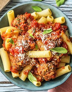 Easy pasta recipe with homemade red sauce and kale meatballs | More kid-friendly recipes on hellofresh.com