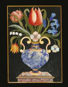 German Baroque Pietra Dura- Inlaid, Ormolu and Marble Mounted Parcel Gilt… Florence, Create Image, Flower Basket, Fascinator, Baroque, Flower Power, Art Decor, Marble, Stone