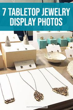Jewelry display table ideas for craft shows. Design your own tabletop jewelry booth display with ideas & inspiration from these 7 craft fair booths. Jewelry Table Display, Jewelry Booth, Jewelry Hanger, Hanging Jewelry, Craft Show Booths, Craft Show Displays, Photo Displays, Display Ideas, Window Display Retail