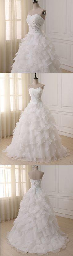 Sweetheart white tulle ruffles long ball gown, white strapless wedding dress #weddingdresses #promdress