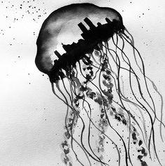 Black and white jellyfish city by artsan-design! Jellyfish, My Drawings, Designer, Black And White, City, Custom Cars, Medusa, Blanco Y Negro, Black White