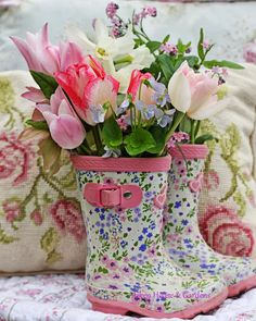 floral wellies filled with spring flowers