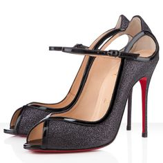 Christian Louboutin 1en8 Glitter Peep Toe Pumps 100mm Black