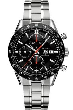 The legendary Carrera, introduced nearly 50 years ago, represents the ultimate in sports chronograph excellence. This model features a black dial with three subdials, black tachymeter bezel and stainl