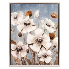Patton Picture White Poppy Field Floral Framed Canvas Art - Silver - 38 X 30 Tree Canvas, Canvas Frame, Canvas Wall Art, Silver Wall Art, Silver Walls, Interior Design Themes, Hanging Canvas, Floral Wall Art, Floral Artwork
