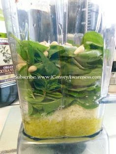 Pesto in Vitamix:  1/2 cup olive oil; 1/2 - 3/4 cup parmesan cheese;  3 cloves of garlic peeled;  2 cups of fresh basil;  3 T pine nuts (can substitute walnuts);  S&P to taste