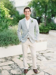 Beach inspired attire with a seersucker jacket: http://www.stylemepretty.com/florida-weddings/alys-beach/2016/10/06/all-the-inspiration-youll-ever-need-for-your-vow-renewal/ Photography: Simply Sarah - http://simplysarah.me/
