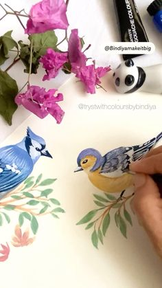 Watercolor Bird, Watercolor Drawing, Watercolor Animals, Bird Illustration, Pattern Illustration, Gouche Painting, Fabric Painting, Painting Art, Paintings