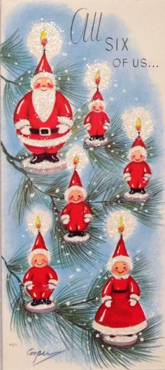 Vintage 1950's red & aqua blue glitter Christmas card with Santa tree ornaments by artist Marjorie Cooper & Rust Craft