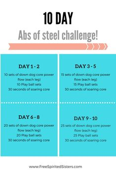 It's another 10 day challenge! This time we're gonna fire up your core and get started on some abs of steel! 10 Day Challenge, Plank Challenge, Workout Challenge, Workout Plans, 10 Day Workouts, At Home Abs, How To Get Abs, Shoulder Workout, Going To The Gym