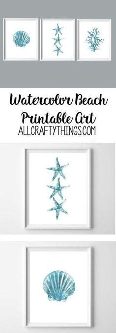 beach printables | wall art | turquoise art | watercolor printable art | summer printables
