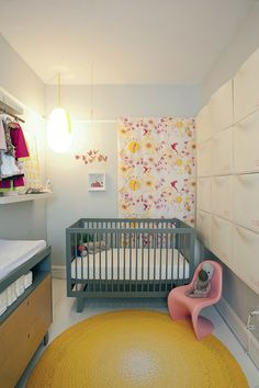 Closet nursery in a popsicle palette for a small space