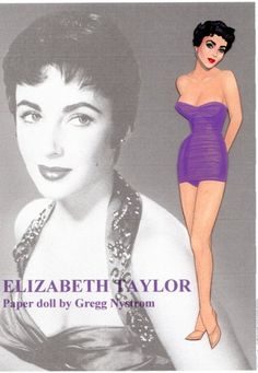 Elizabeth Taylor, paper doll by Gregg Nystrom