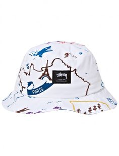 Map Print Bucket Hat #stussy #buckethat #summer