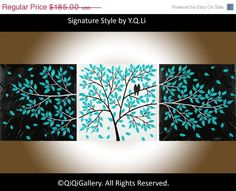"Romantic Painting Abstract Painting Landscape Painting Impasto Painting Palette Knife Love Birds Painting Tree Painting ""Life Is Beautiful"""