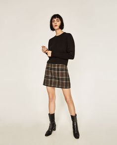 Image 1 of PUFF SLEEVE CROPPED SWEATER from Zara