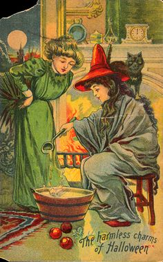 Antique halloween print. The witch is reading the girl's fortune by pouring molten lead into water. The shape it cools in tells her fortune.