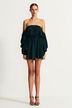 Core Off The Shoulder Mini Dress | Seaweed | Cocktail Dresses | Shona Joy