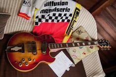 Punk song lyrics vintage Ibanez electric guitar vintage cycling jersey